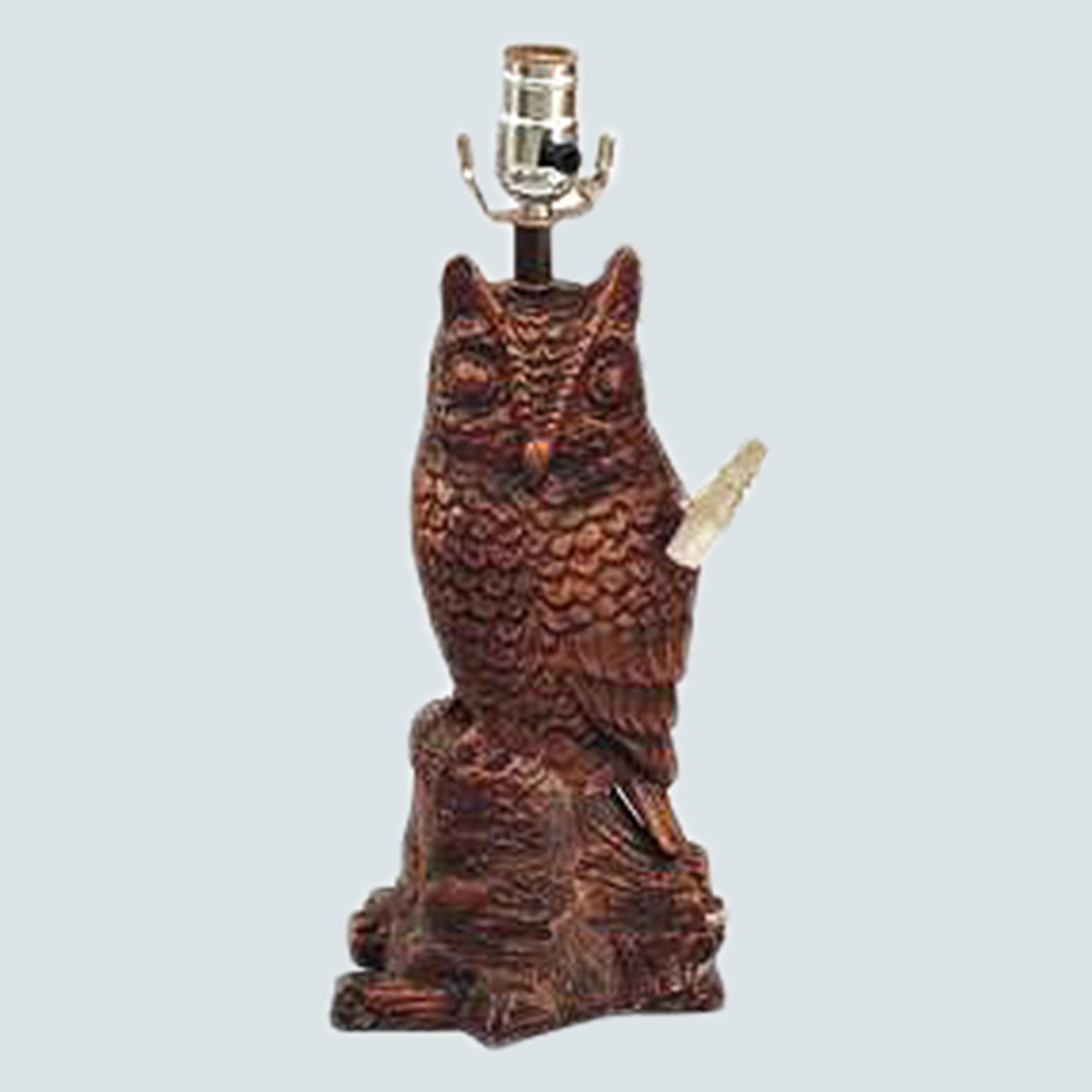 Owl Lightning- Desgner - Table Lightning - Traditional Table Lamp Carved Brown/golden for Living Room Family Bedroom Bedside Nightstand - Metal- Aluminium