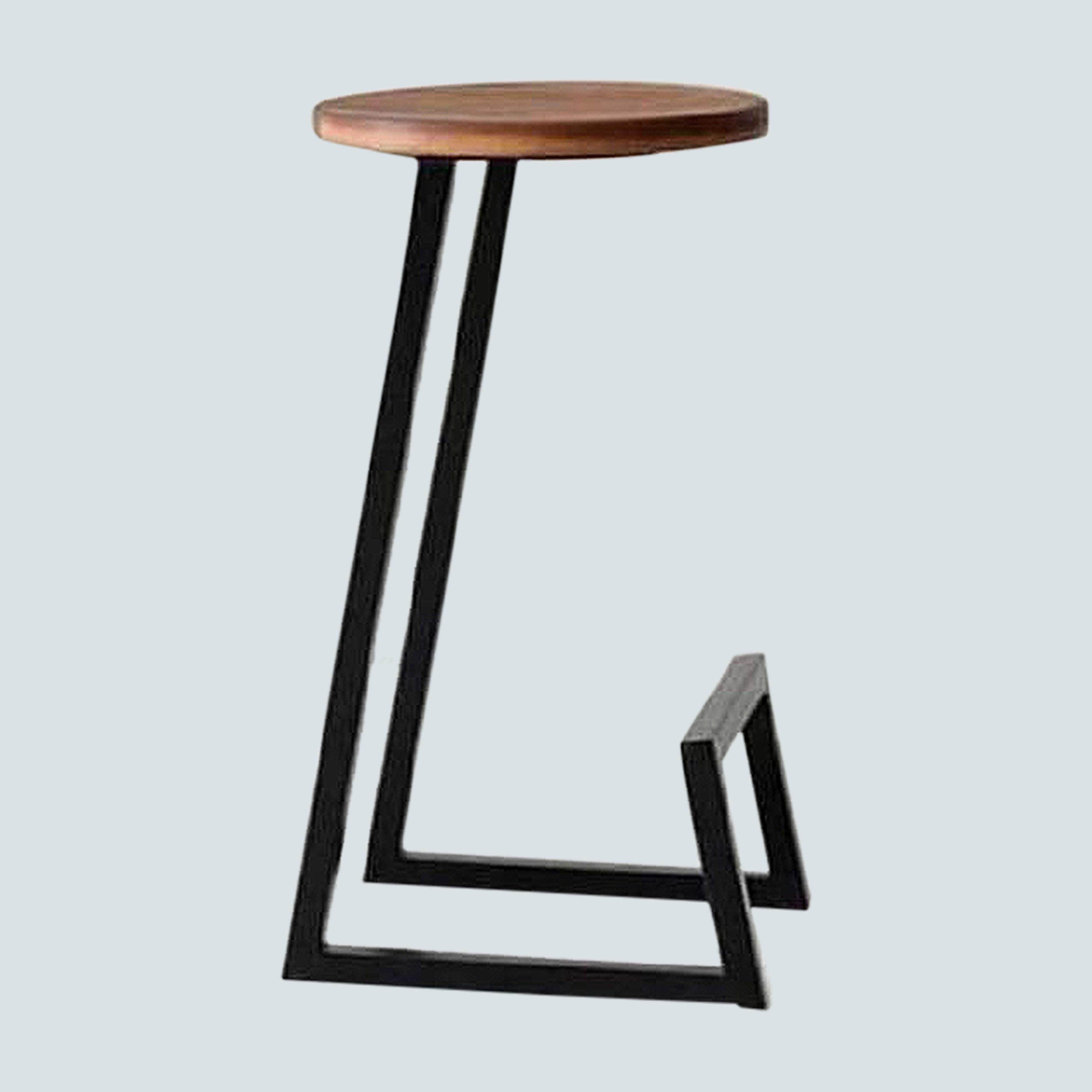 Industrial Backless Wooden Bar Stool