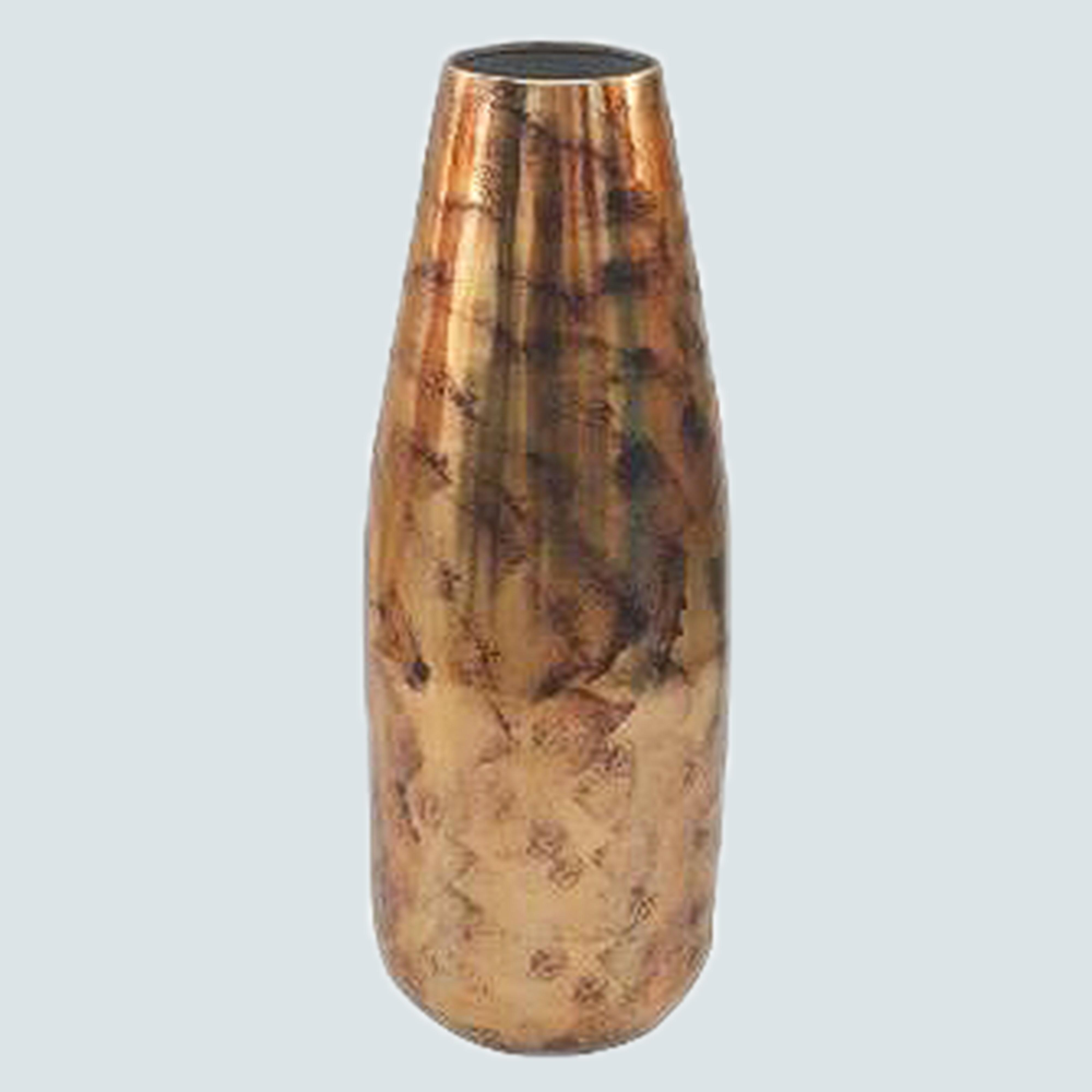 Handmade Vase from recycled Aluminium - Metal and Clay Cylinder Vase | Distressed Whitewashed Iron Finish | Holds Floral or Flower Arrangements, Home Decor Elements | for Decoration, Den, Farmhouse, Kitchen, Bathroom | 20 Inches Tall