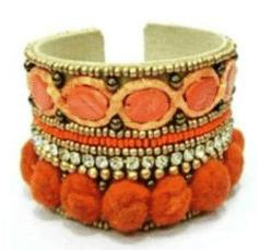 Embroidered Metal Cuff Bracelet