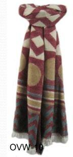 Red, Offwhite, Multi Color Handmade Cotton Aztec Tribal Style Scarf