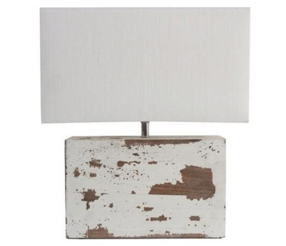Compact White Rectangular Base Lampshade with Rugged and Distressed Detailing on  Stand