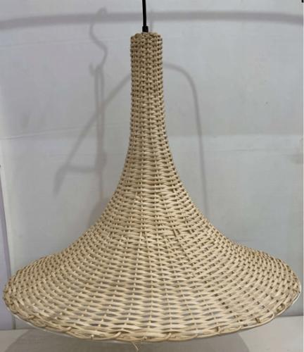 Conical Structure with Concave Edges and Tapering Top with Natural Texture Wicker Pattern with Horizontal Lining Hand-woven Taditional Simplistic Pattern Pendant Ceiling Chandelier