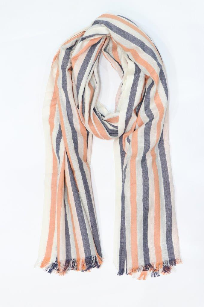 men scarf stripe with knotted fringes