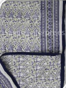 Indian Handmade Block Print Cotton  Quilt, Light Weight , Throw Ethnic Blanket