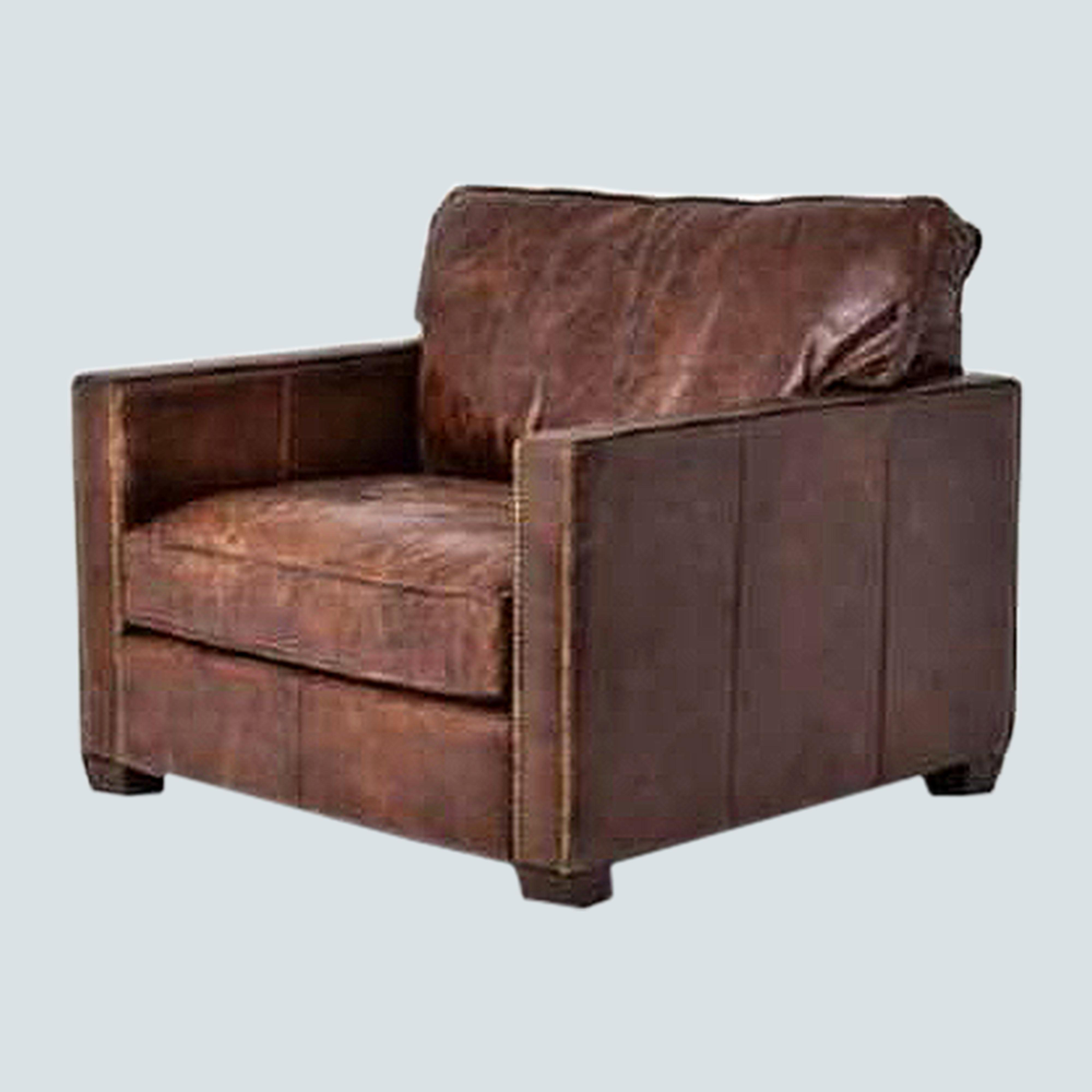 Leather Accent Single sofa arm chair, upholstered club lounge Chair