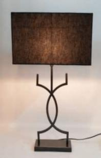Fabric Coloured Lampshade with Sleek Metallic Lustre Curving BodyTable Lamp