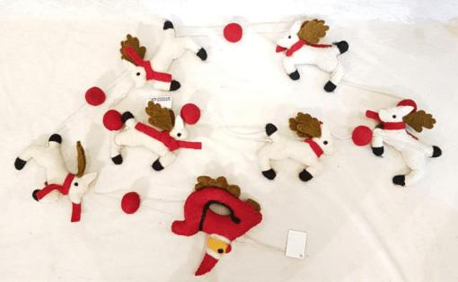 Christmas Theme Thread Patterned Binding Design with Felt Reindeer and Santa Extension Garland