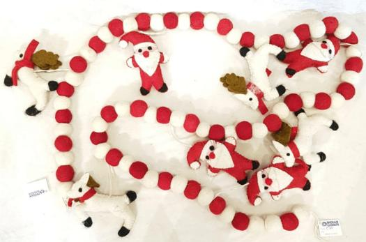 Red and White Color Christmas Theme Handmade Garland with Felt Santa Extension