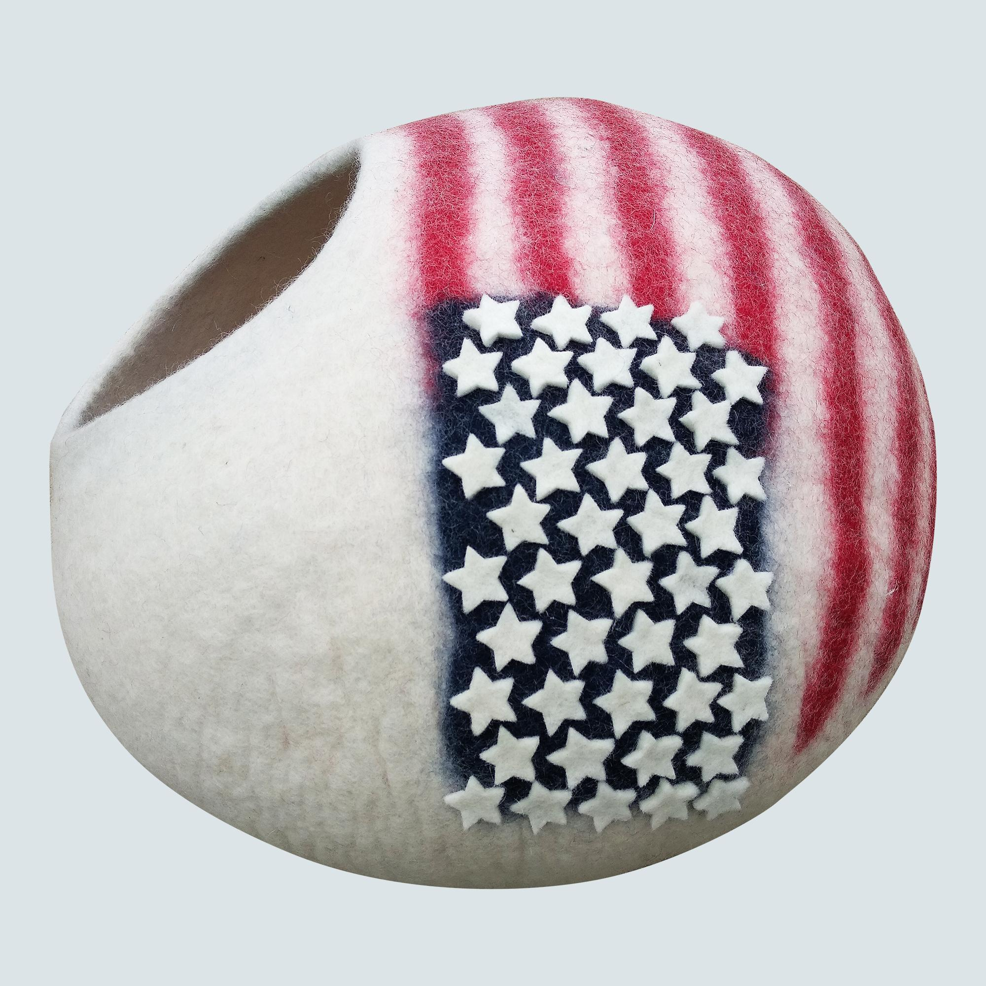 Premium Felt Cat Bed Cave (Mediumto Large ) - Handmade 100% Merino Wool Bed for Cats and Kittens- American flag design