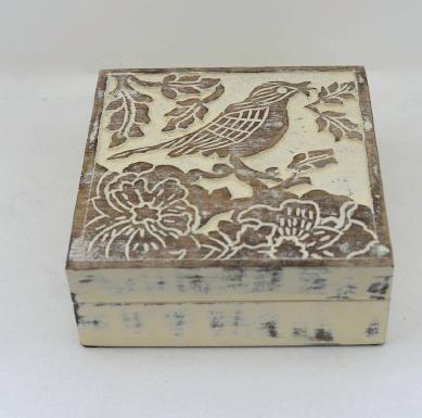 Hand Carved Jewelry Trinket Keepsake Wooden Storage Box, Off-White
