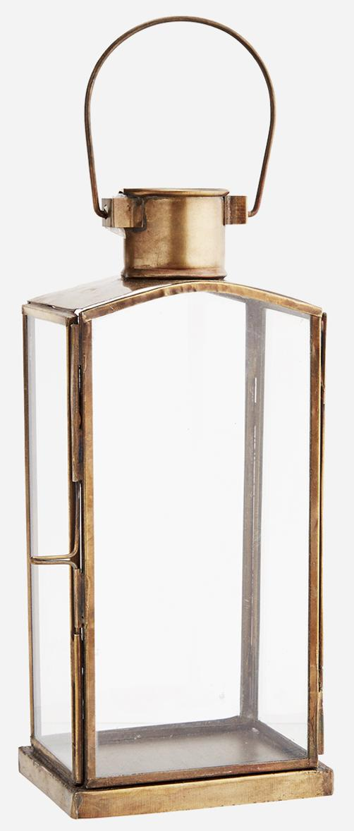 Candle Hurricane Lantern, For Table Top, Mantle, Wall Hanging, or Garden Display, Indoor & Outdoor Use, Gold