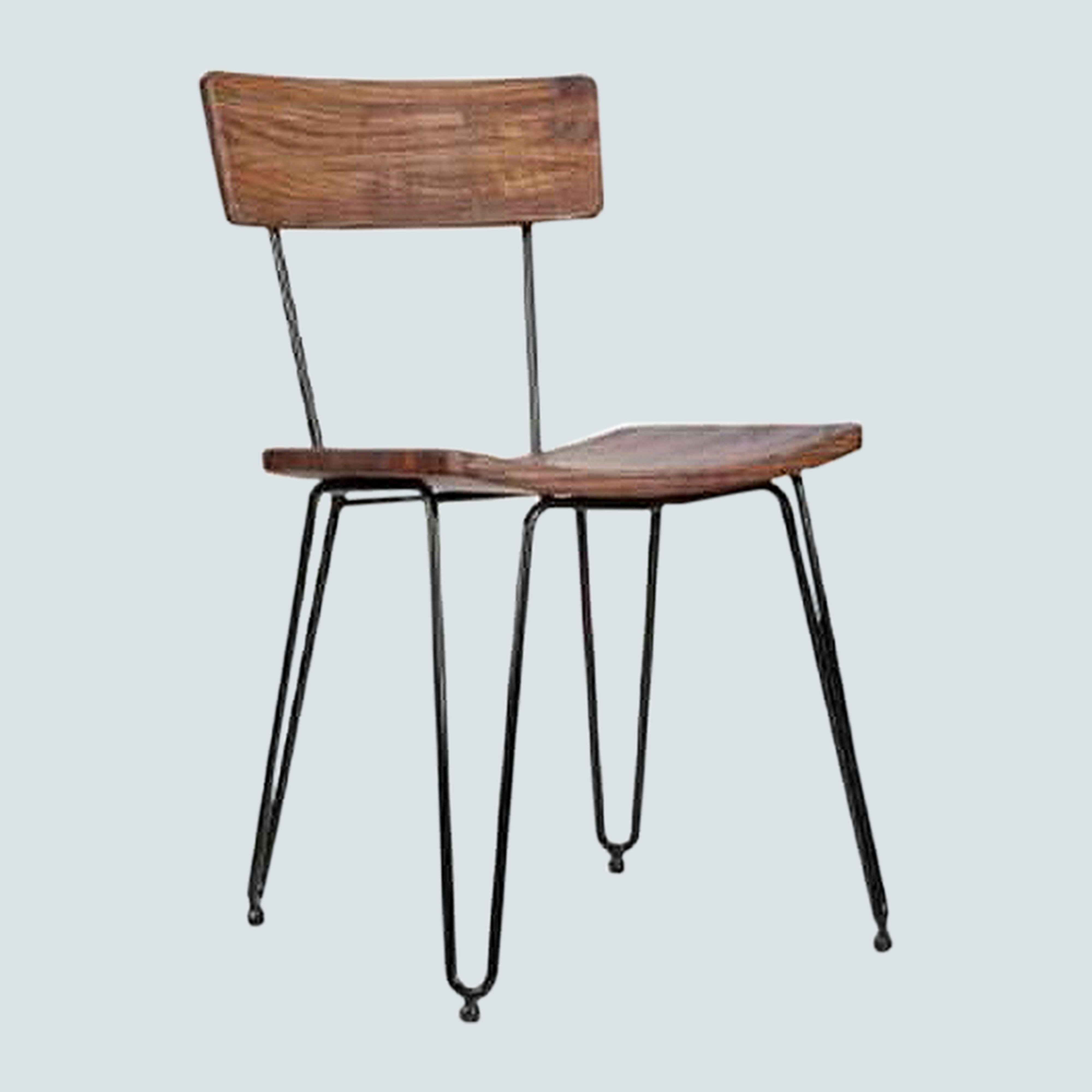 Industrial String Frame Dining Chair, HAIRPIN METAL Teak WOOD, GUNMETAL for kicthen, bristo, café, Home Office, Waiting Room Reception