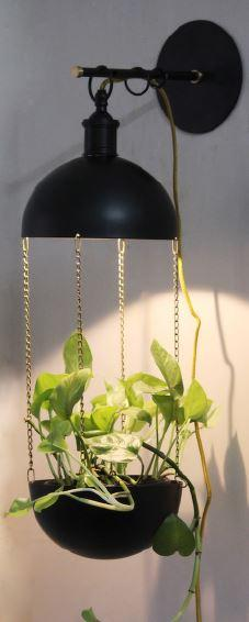Modern Pendant Lamp Hanging, Lamp Plant Flower Pot Chandelier, Ceiling Light,  Creative Iron Dining Room, Pastoral Office Light Fixture, Green Bookstore Decoration