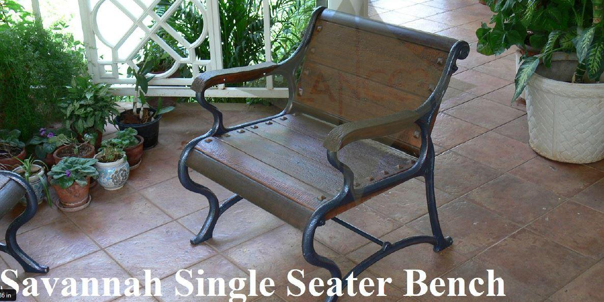 Savannah Garden Bench Single Seater, Garden Bench, Wood Outdoor Patio, Park, Yard Seat Chair