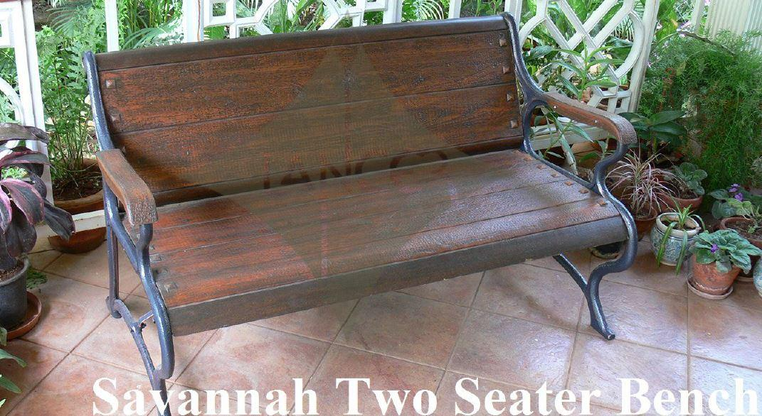 Savannah Garden Bench Double  Seater, Garden Bench, Wood Outdoor Patio, Park, Yard Seat Chair