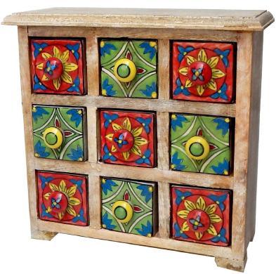 Mango Wood Ceramic 9 Drawer Almirah - organizer, cabinetry