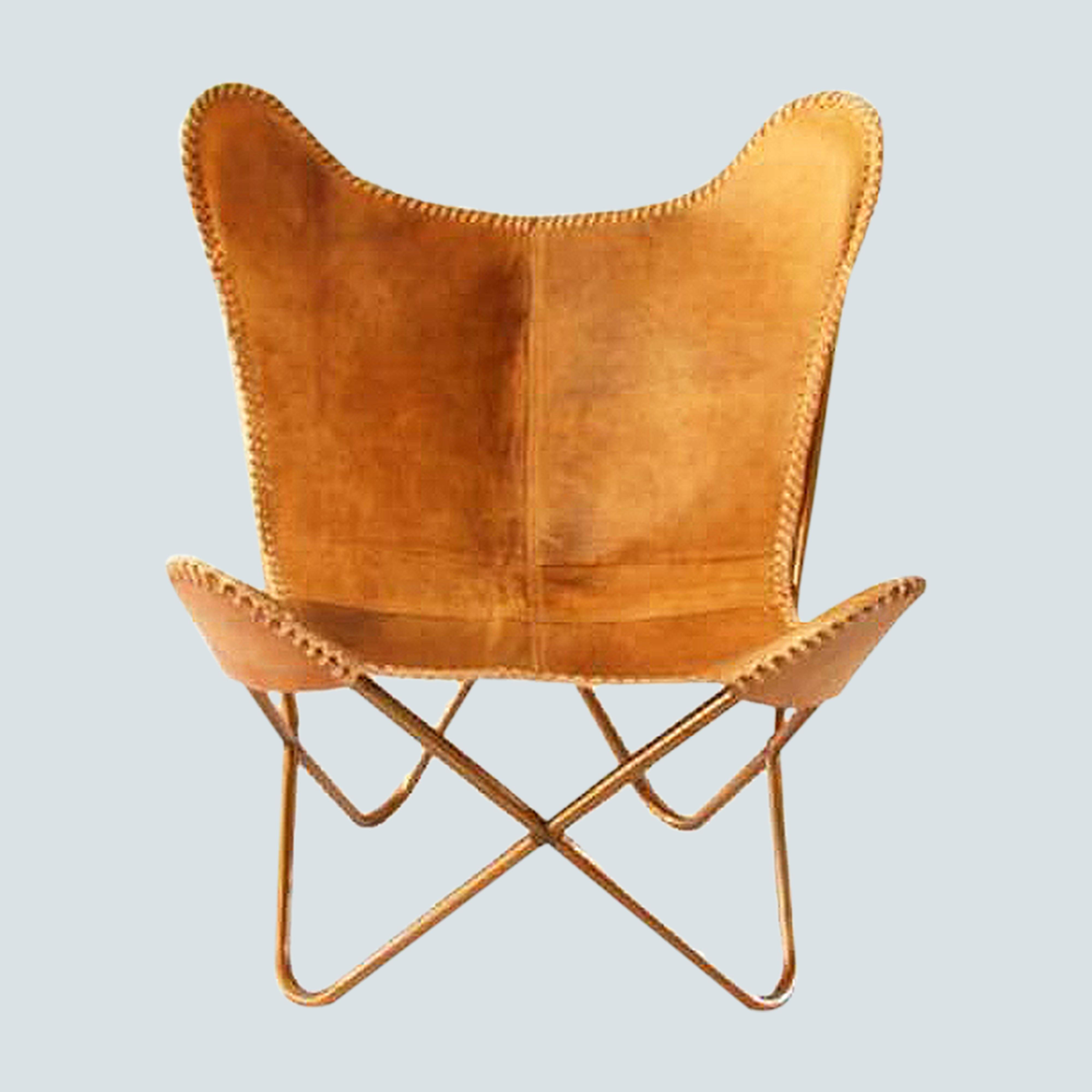 Natural Leather butterfly accent chair