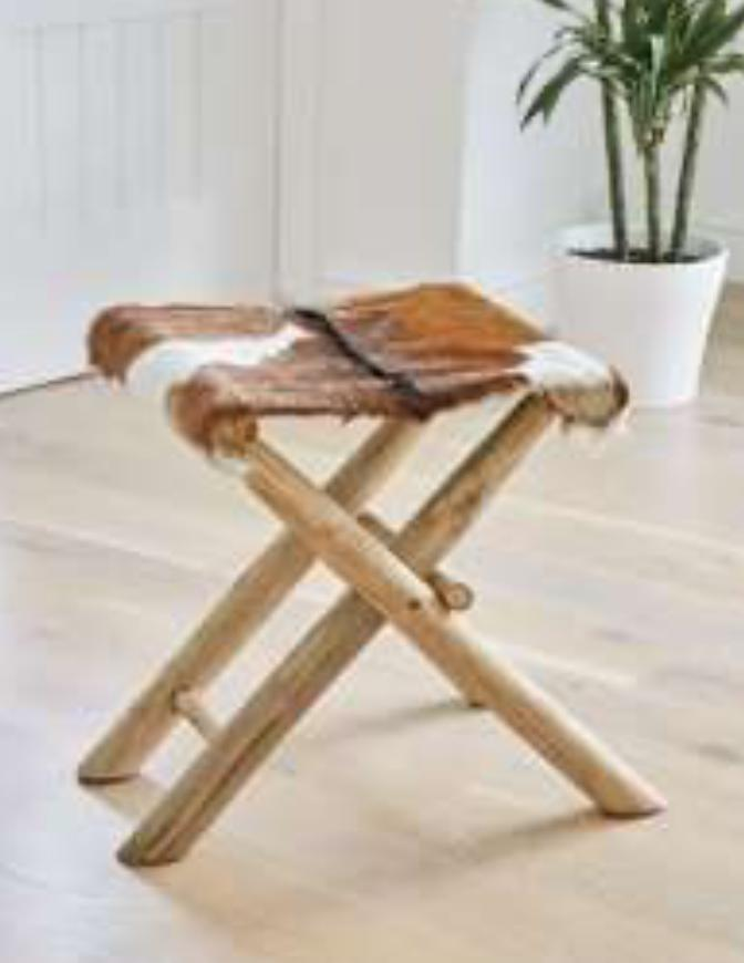 Leather Side stand table - Solid wood