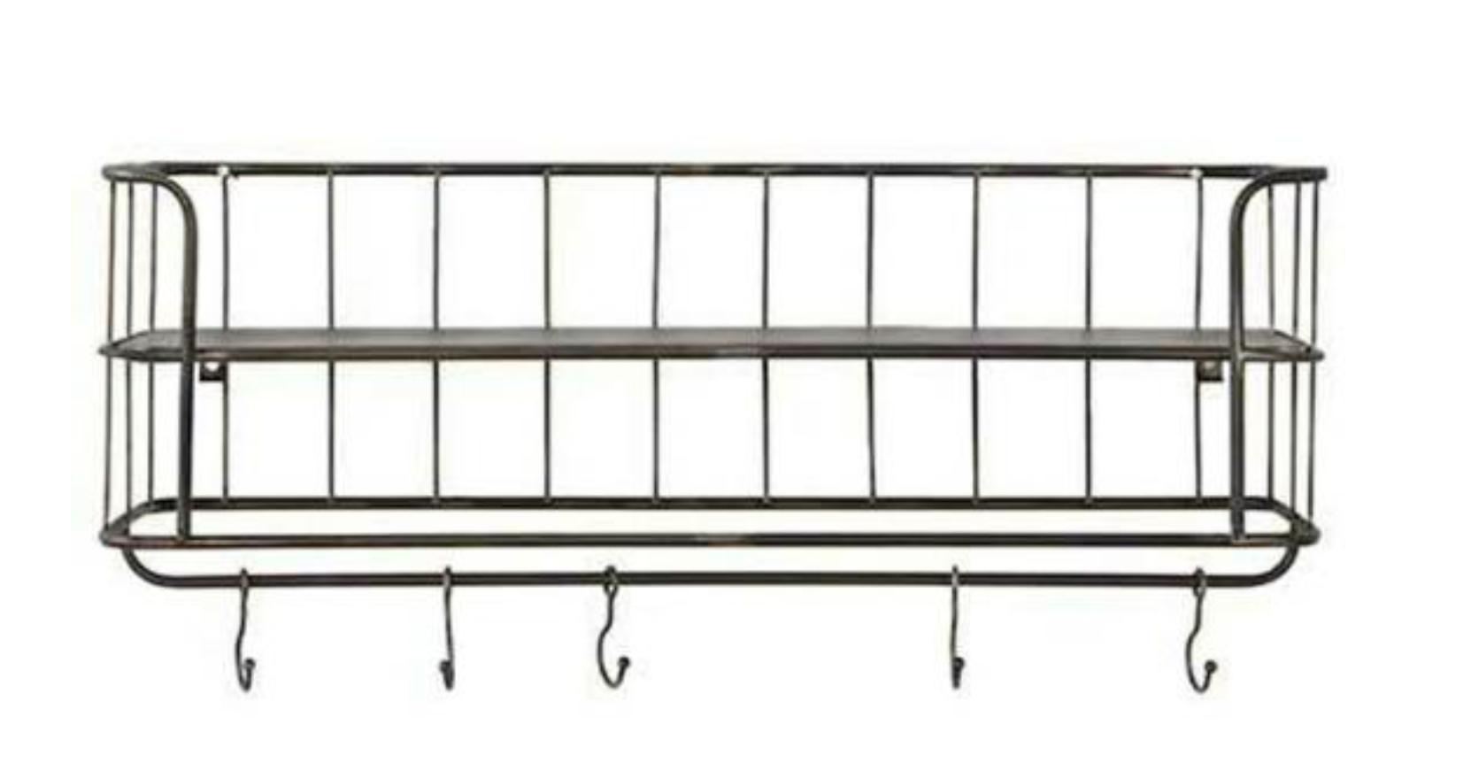 Wood Floating Shelf Wall Mounted, Rustic Wood Storage Shelf with Towel Bar and 8 Removable Hooks, Metal Wire Display Racks for Organize Cooking Utensils or Mugs