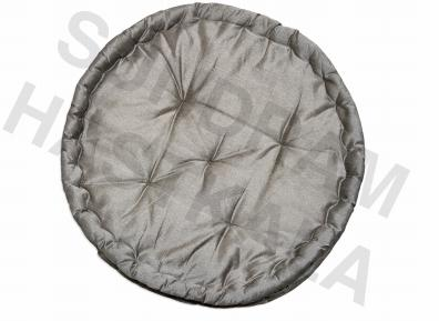 Grey colored round cotton tuck chair pads