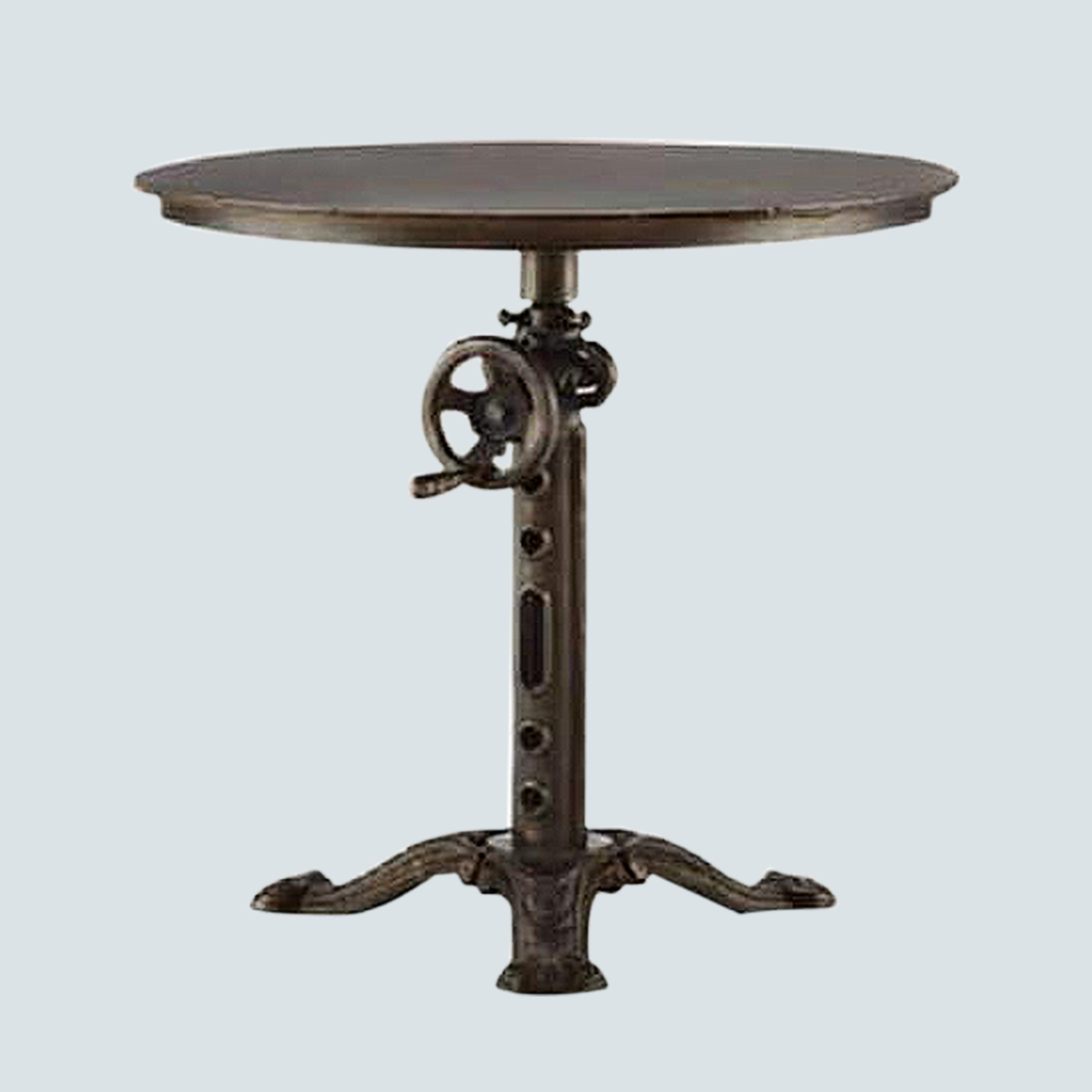 Industrial reclaimed solid round wood , metal frame coffee table, Accent Cocktail Table with swivel and adjustable height