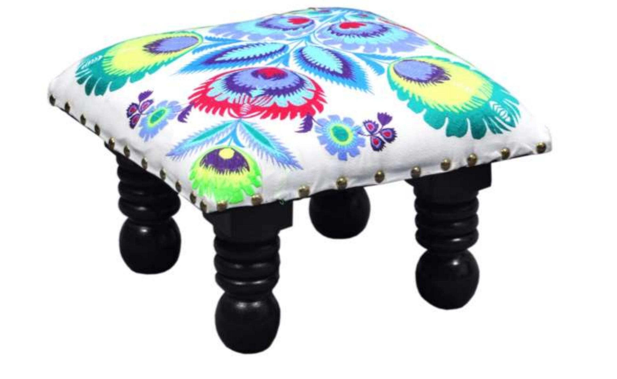 Fabric mango wood foot stool