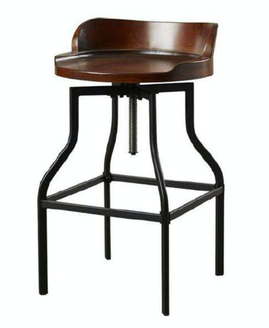 Counter Height Barstool in Brown Leather / Solid Wood Finish / Rustic Metal and Modern Chair
