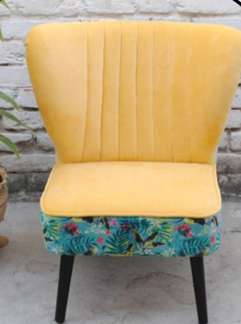 Armchair yellow and blue, tropical vibes