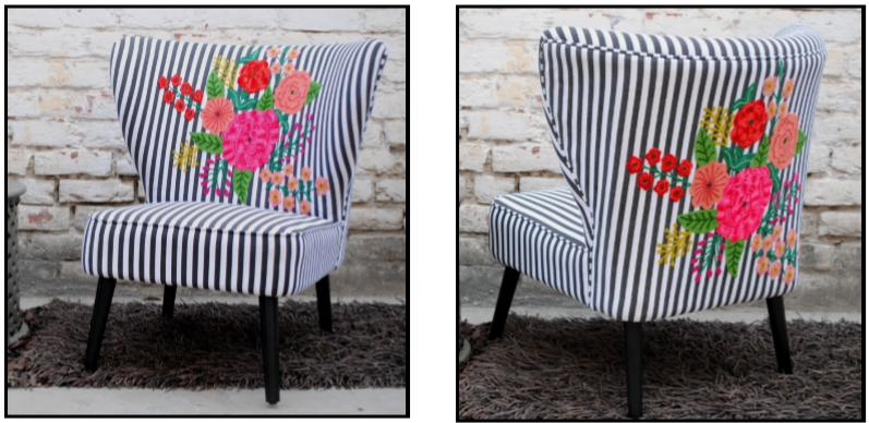 Armachair blue and white sailor motive, vertical line, decorated with multicoloured embroidered flowers