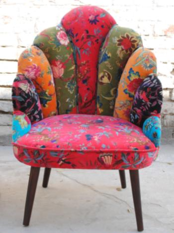 Armachair armless shell shape, vintage motif muticolors, pink