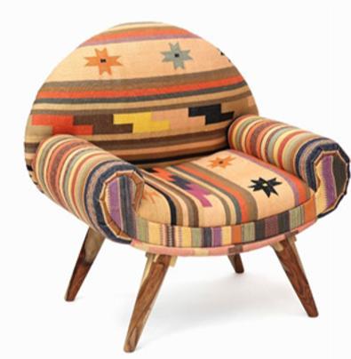Pastel colors armchair, retro/rustic design