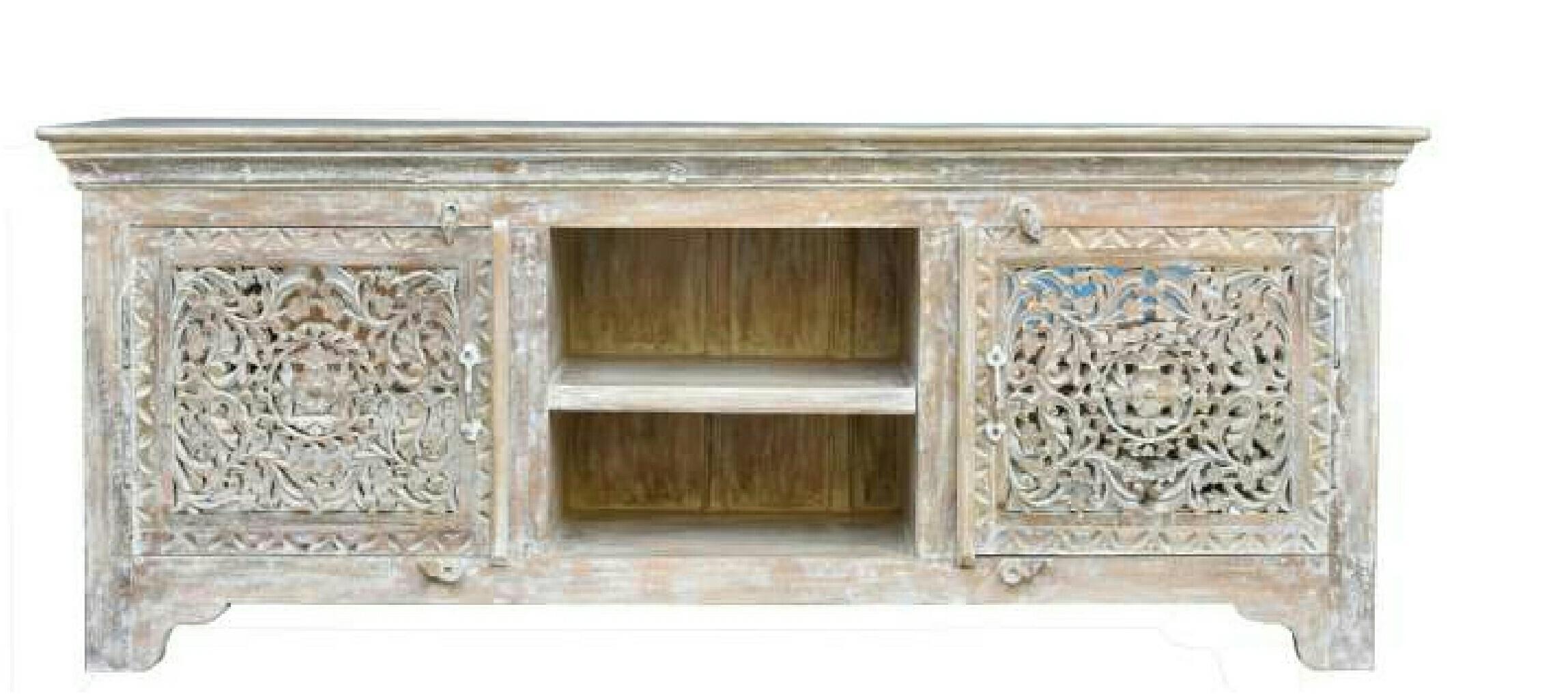 brown carved TV cabinet