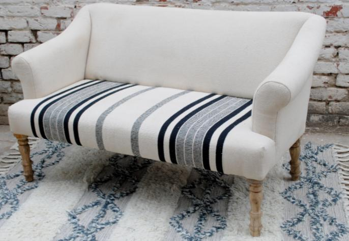 Three-seater fabric sofa, without armrests, blue and white striped pattern