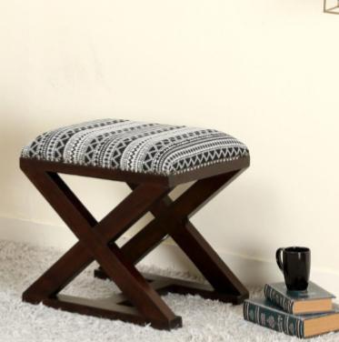 Natural wood Folding Stool Bench Seat Fully Assembled foldable, with black and white fabric padding, geometric design