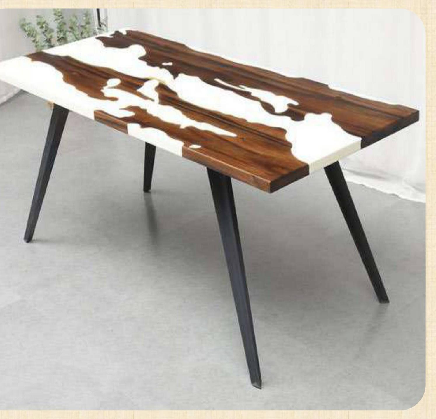 wooden brown plus white table