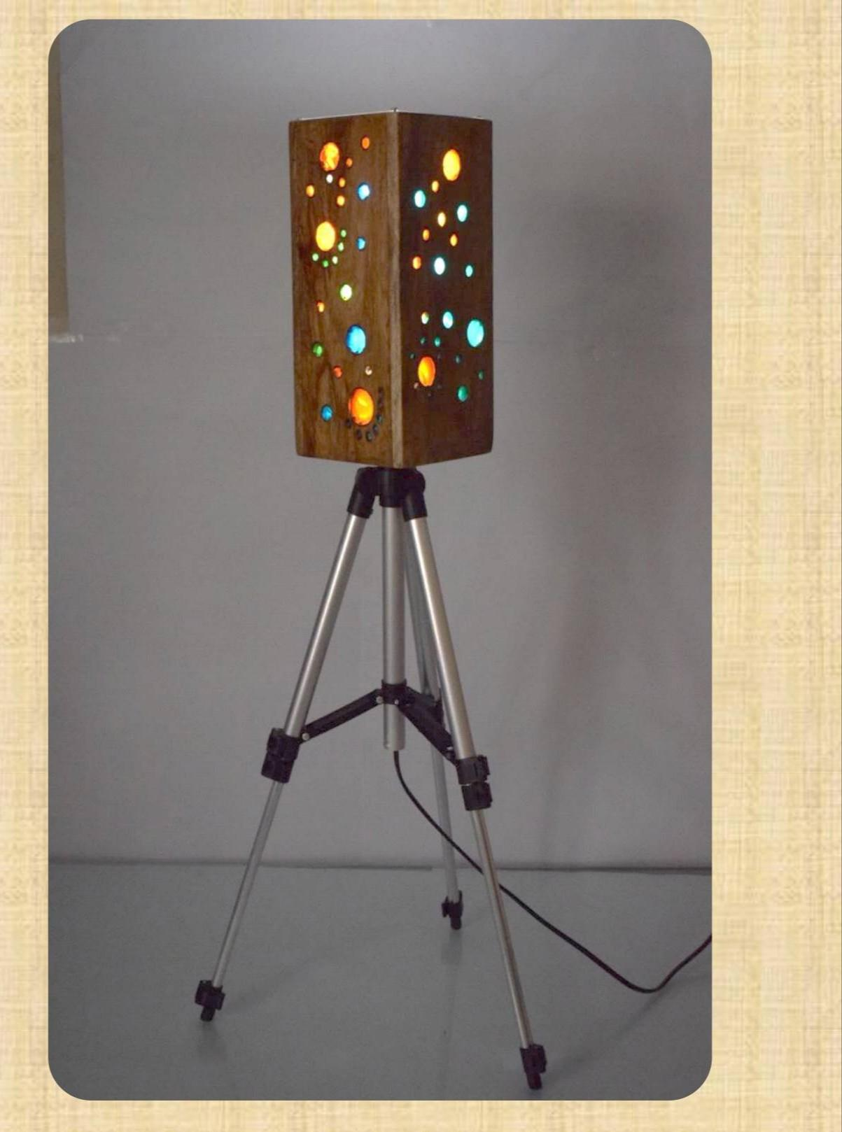wooden lamp wuth stand