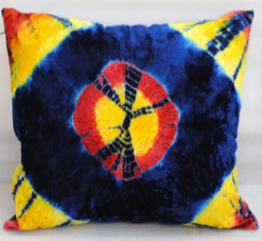 Decorative cushion cover in tie and dye style, Cushion yellow/red cover with blue circle at the middle . Square cushion cover for sofa, desk, car, bedroom, etc.