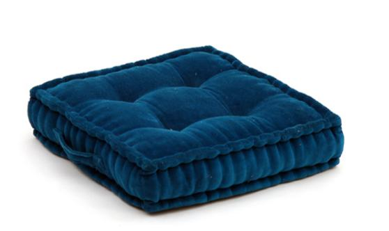 Blue velour-effect seat cushion, memory foam, non-slip backrest, durable fabric, superior comfort and softness, reduces pressure and body contours, washable.