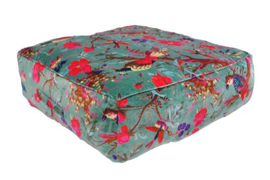 Blue velour-effect seat cushion, tropical parrot pattern, memory foam, non-slip backrest, durable fabric, superior comfort and softness, reduces pressure and body contours, washable.