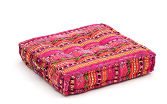 Ethnic  pink and  orange geometric pattern cushion, memory foam, non-slip backrest, durable fabric, superior comfort and softness, reduces pressure and body contours, washable.
