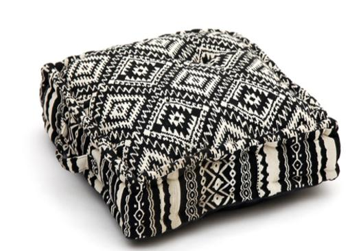 Ethnic  black and  white geometric pattern cushion, memory foam, non-slip backrest, durable fabric, superior comfort and softness, reduces pressure and body contours, washable.