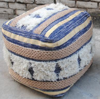 Square Poof,  blue jean,yellow, beige  striped pattern, with geometric relief pattern in white fabric