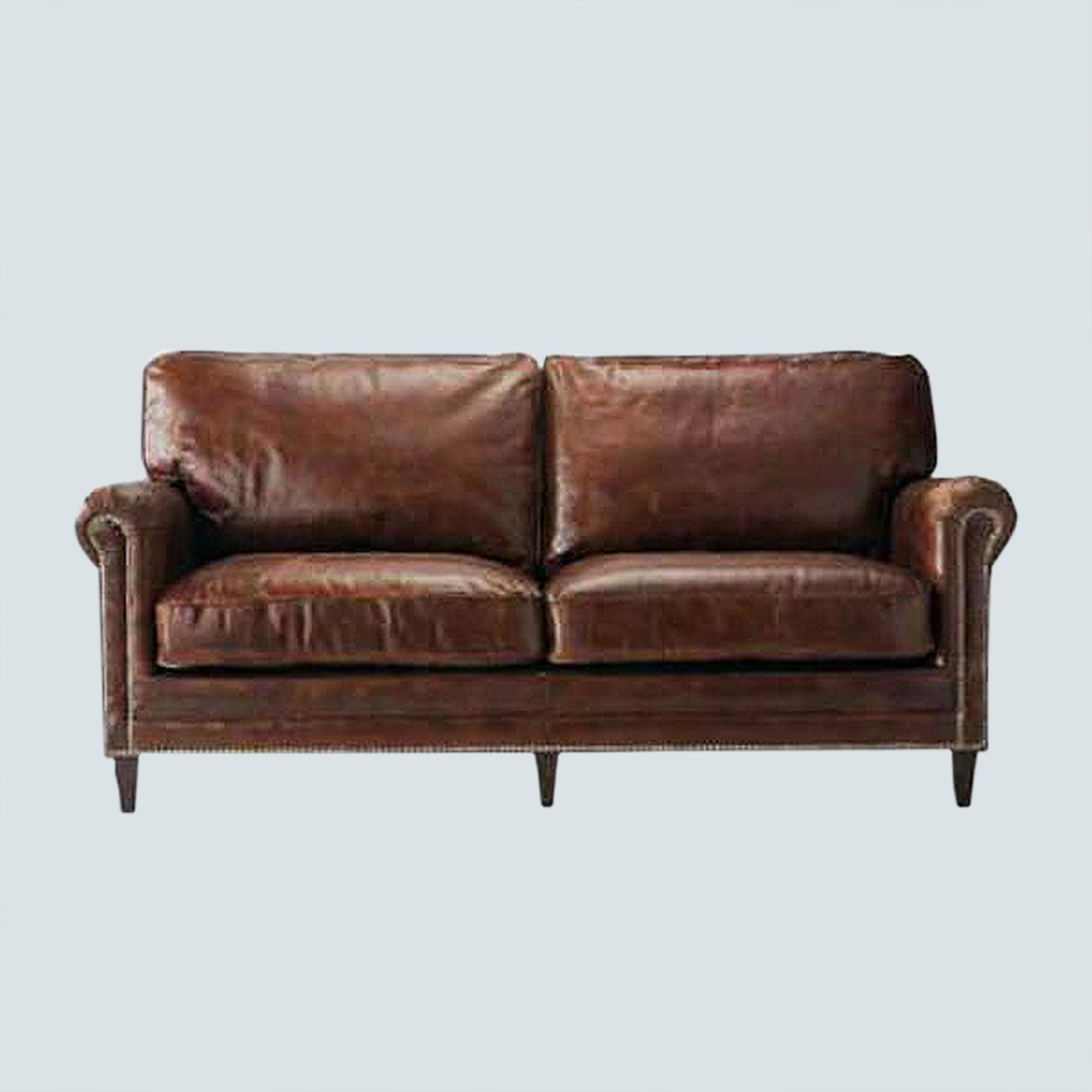 Leather Accent Couch Sofa , upholstered club lounge sofa, Vintage Loveseat