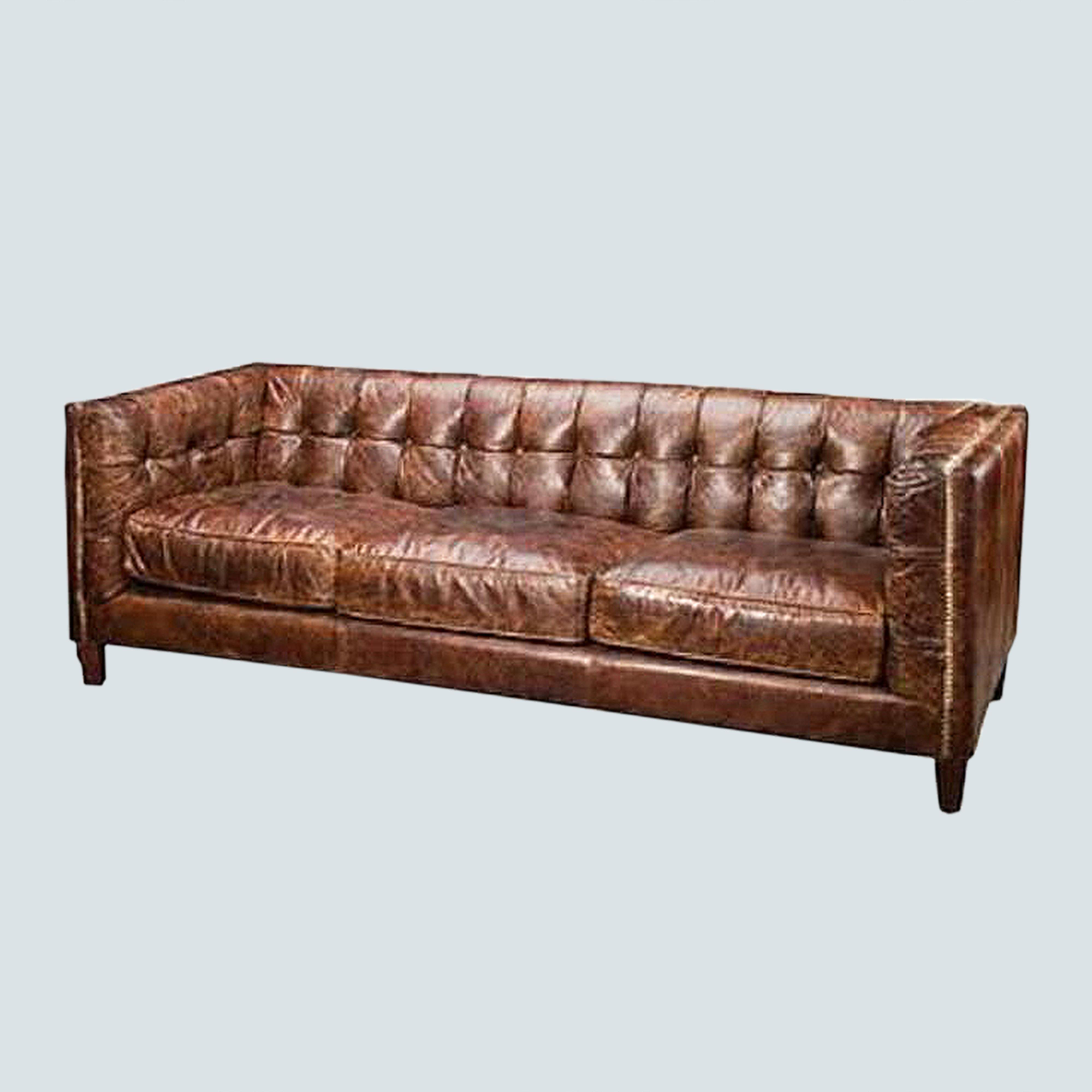 Leather Accent Couch Sofa , upholstered club lounge sofa, Vintage Chesterfield 3 seat