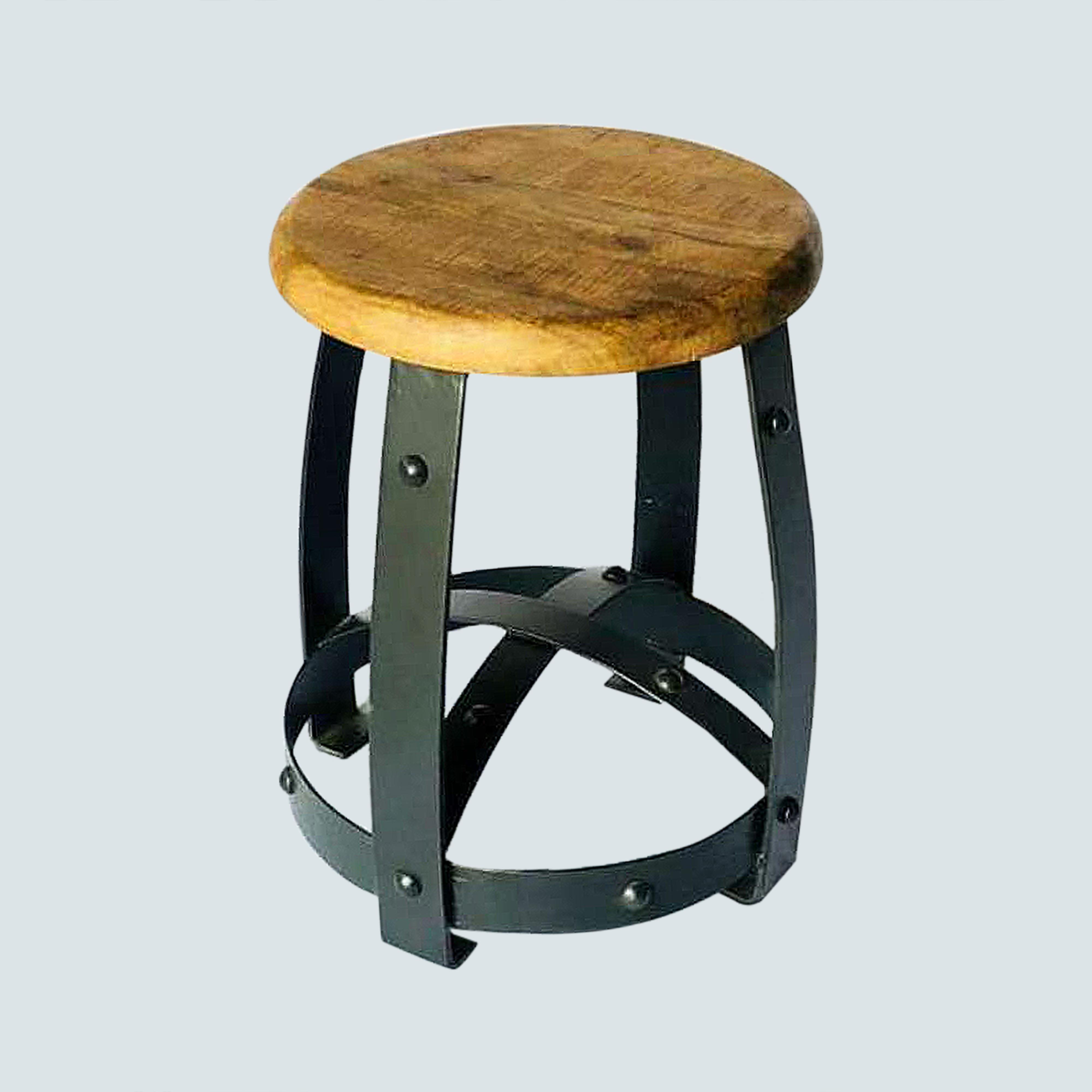 Accent, Industrial small Leather wooden stool