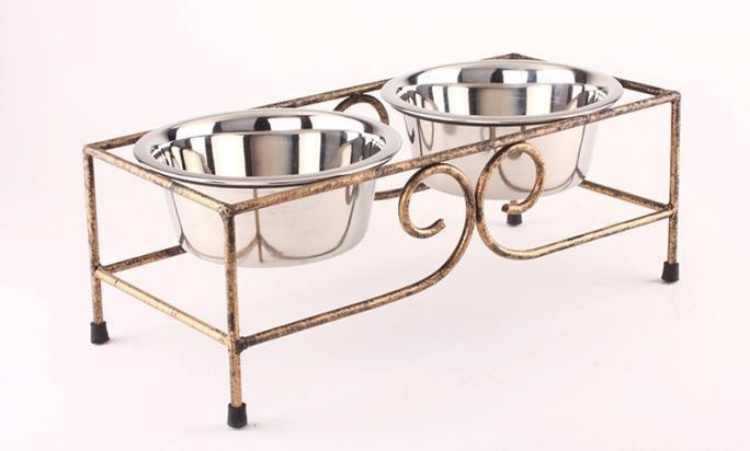 Bowl Set Food Feeder Cat Dog Dishes with Metal Stand Raised for Cat Dog