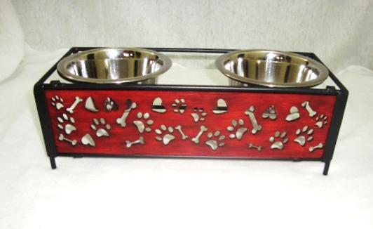 Pet Feeder for Dog Cat, Stainless Steel Food and Water Bowls with Iron Stand