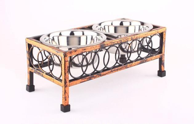 Elevated Dog Bowls Raised Pet Feeder Cat Food & Water Diner Stand Set