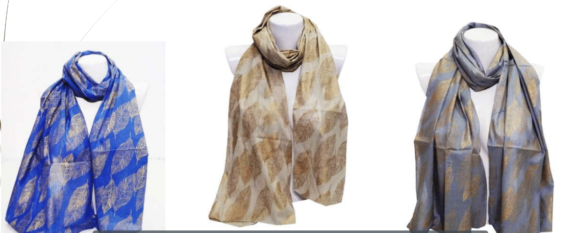 Leaf printed Scarf with tassels - Handwoven Organic Long Cotton Check scarf women